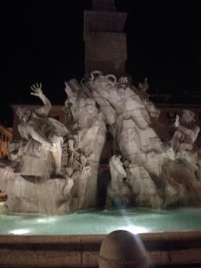 Una de las fuentes de Piaza Navona